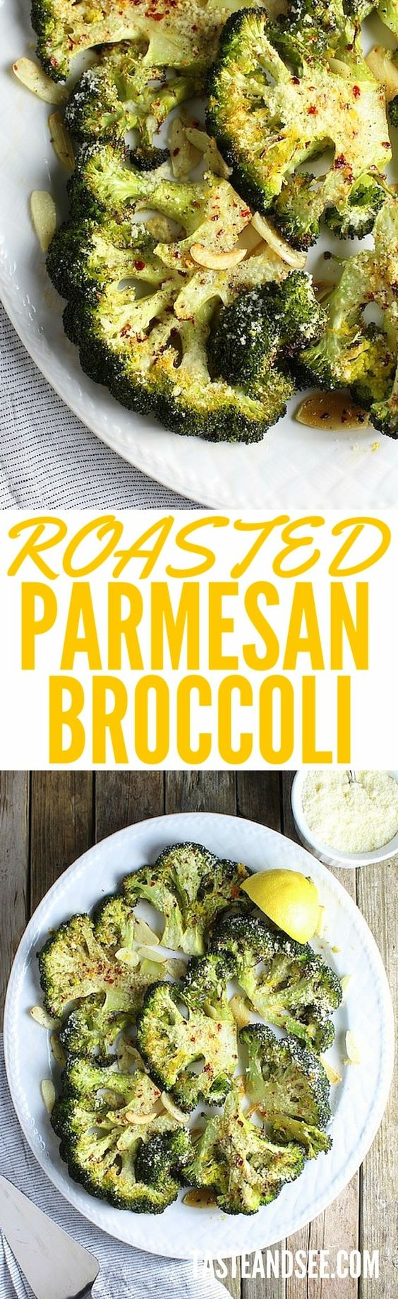 Roasted Parmesan Broccoli - Roasted with olive oil, Parmesan cheese, sliced garlic, and finished with lemon zest.  Super simple & healthy, this is a yummy, easy veggie dish.  http://tasteandsee.com: