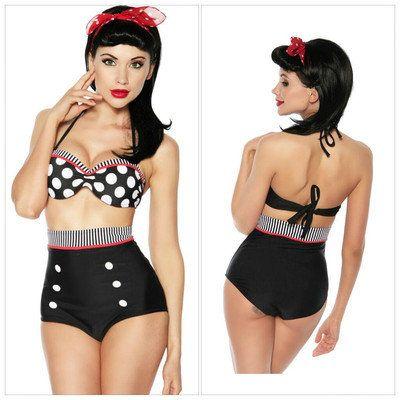 Cutest Retro Swimsuit Swimwear Vintage Pin Up High Waist Bikini Set SZ S/M/L/XL on Wanelo