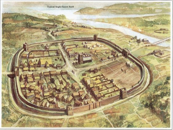 Typical Anglo Saxon Burh, a type of fortification that developed to protect towns from other Germanic invaders such as vikings.