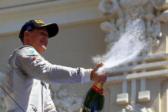 Third placed Michael Schumacher (GER) Mercedes AMG F1 celebrates on the podium.  Formula One World Championship, Rd8, European Grand Prix, Race Day, Valencia, Spain, Sunday, 24 June 2012