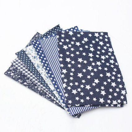KING DO WAY 7 Stueck verschiedene Marine Blau serie Baumwollstoff vorgestanzten baumwolle quilt stoff viertel 19,7 '' suqare Dunkel Blau 50x50cm: Amazon.de: Küche & Haushalt