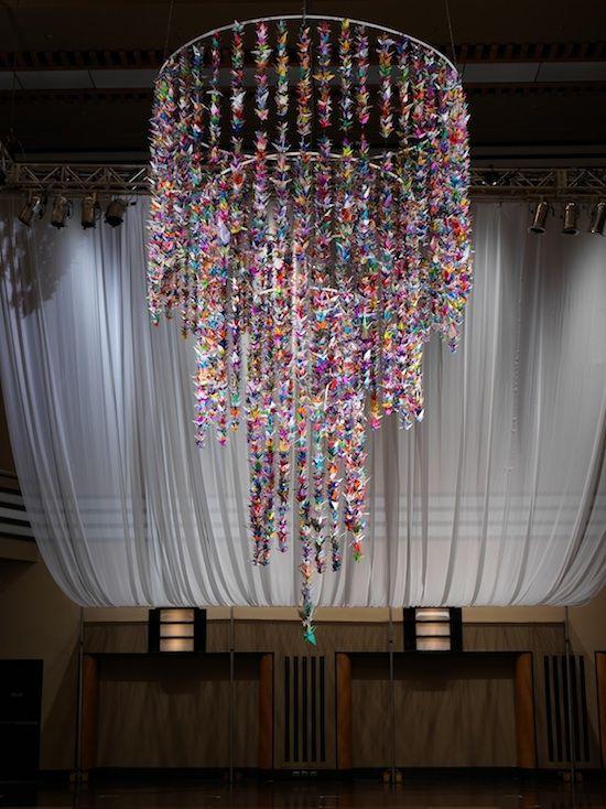 Origami crane chandelier
