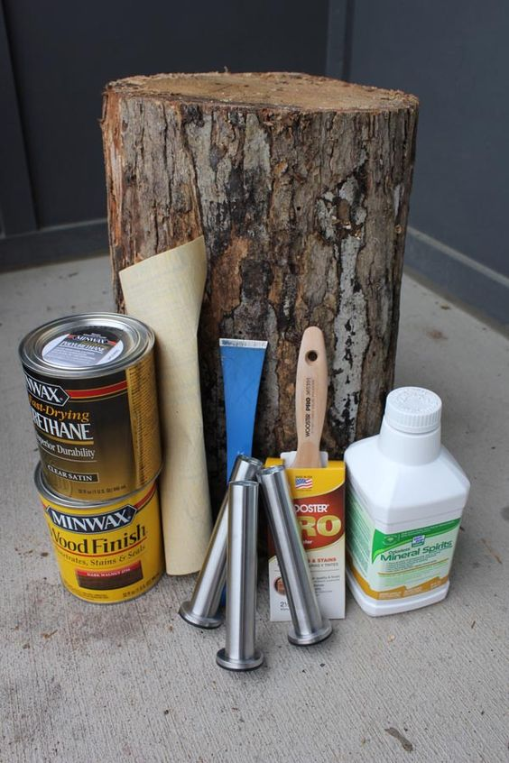 Items needed to make a DIY tree stump table