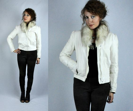 Arctic FOX Chunky Fur Collar Off White Leather by M. Julian 70s