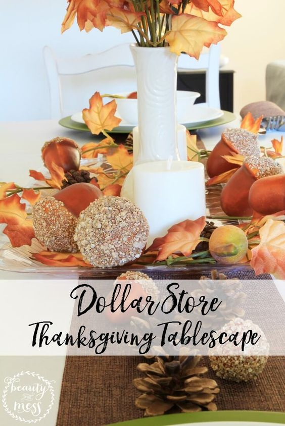 4 Steps to Creating a Dollar Store Thanksgiving Tablescape via @wdcornelison