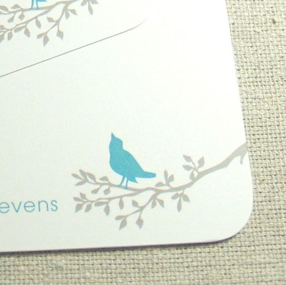 bird on branch personalized stationery set 12 CHOOSE by naomilynn