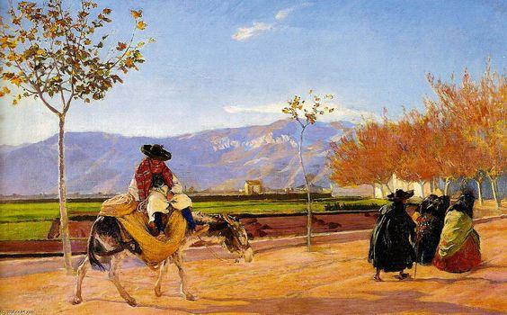 """Mañana de otoño"", 1907 by José Mongrell Torrent (1870-1937, Spain)"
