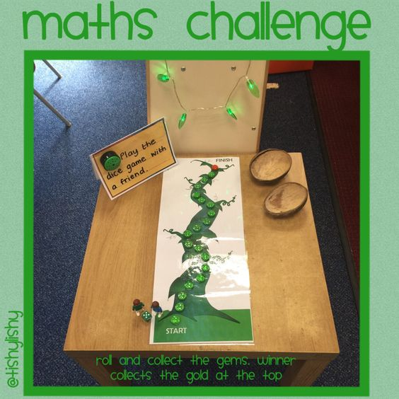 Jack and the beanstalk inspired independent maths activity. Roll the dice and move your 'jack' along. Collect gems, winner collects the golden gem!!
