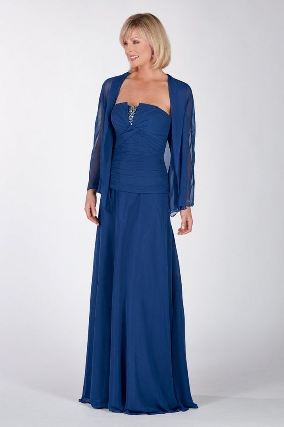 A-line Strapless Dropped Waist Beaded Chiffon Mother Of The Bride Dress-mob0009, $196.95
