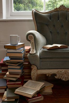 comfy chair, cup of coffee/tea, and a stack of great books