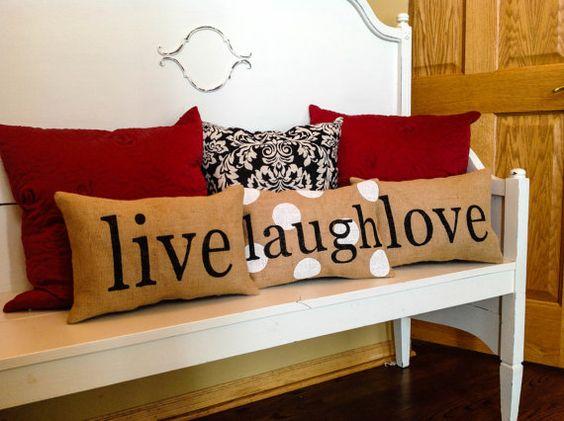 Stenciled Burlap Pillow Live Laugh Love Pillows Home