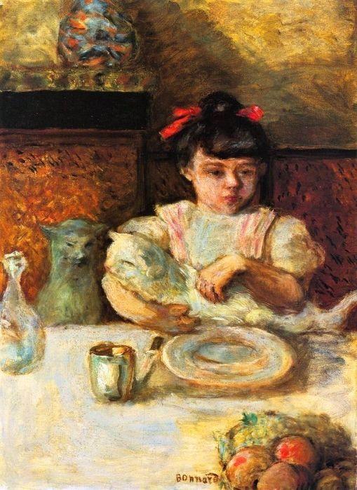 Pierre BONNARD (1867 - 1947) Enfant et chats (c. 1906, huile sur toile, Nagoya, musée préfectoral d'Aichi)
