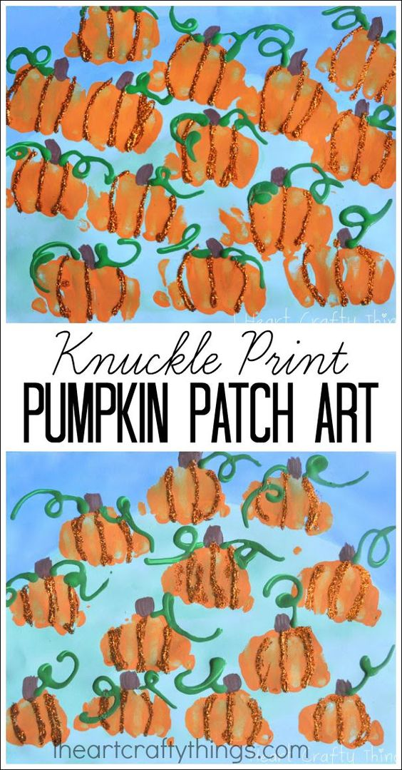 Knuckle Print Pumpkin Patch Art for Kids. Awesome fall and Halloween Kids Craft.