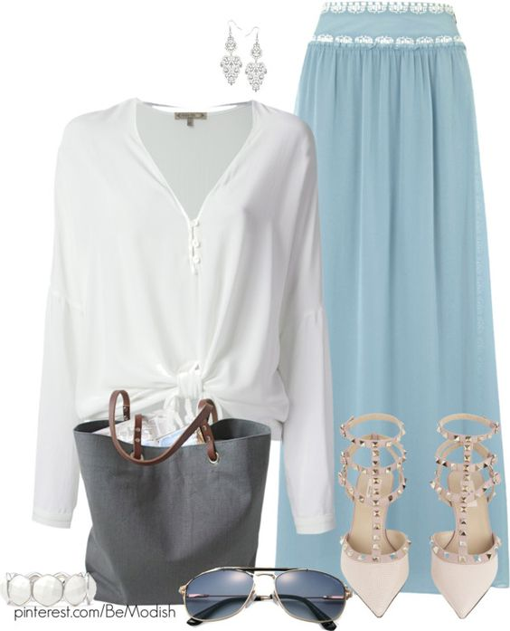 baby blue maxi skirt outfit for summer