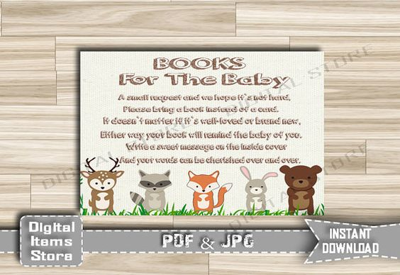 Baby Shower Bring a Book Instead of a Card  by DigitalitemsShop