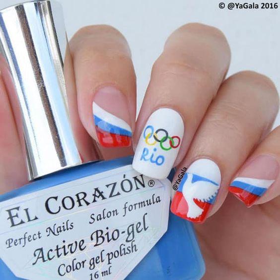 Rio 2016 Olympics Nail Art by @yagala; see the full nail art gallery at…: