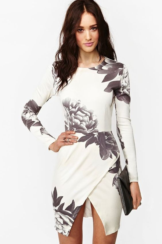 Black and white flowers dress