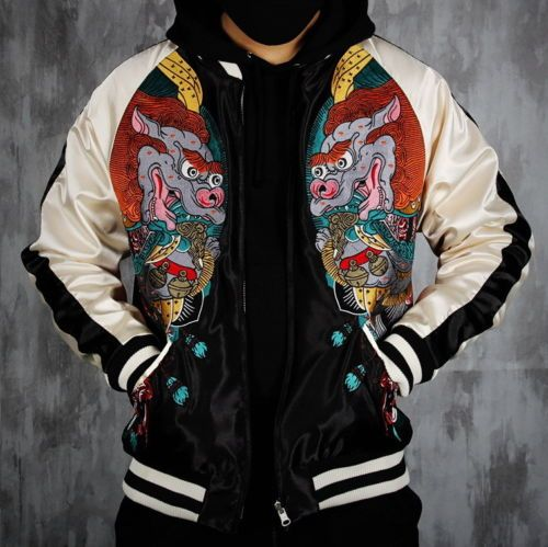 Mens Vintage Embroidered REVERSIBLE Souvenir Jacket Casual Sukajan 4 St Beasts