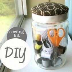 Repurpose a mason jar into a beautiful sewing kit with a built-in pincushion (photo via Paige Ronchetti)