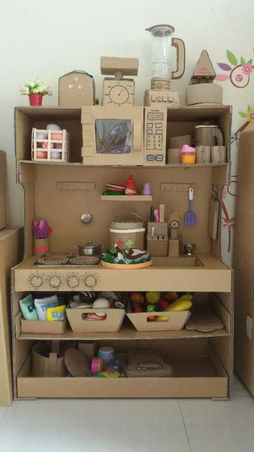Best Amazing Cardboard Furniture Ideas For Your Home Diy Play Kitchen Cardboard Kitchen Cardboard Crafts Kids