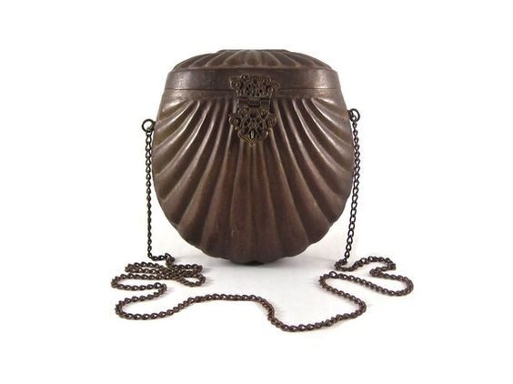 Vintage Gothic Victorian Shell Brass Purse by SkinandWood on Etsy