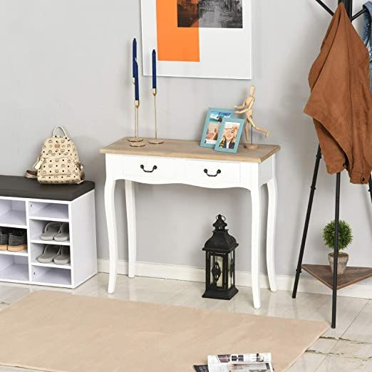 Wooden Console Table Hallway Furniture Entry Desk Drawer White With Drawers - White Console Table With Storage Ikea