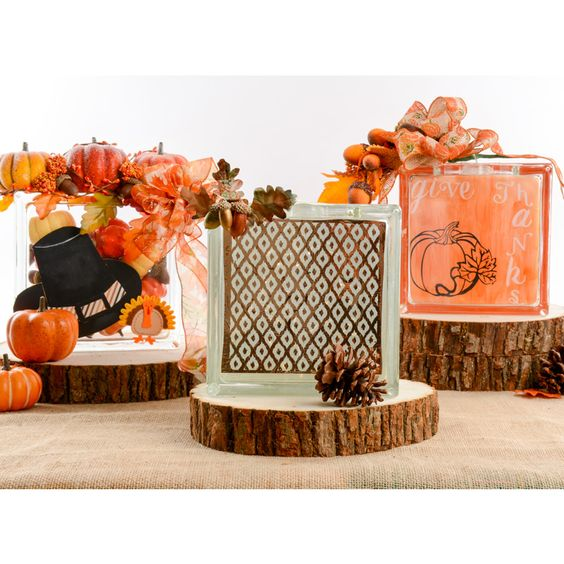 Thanksgiving glass blocks glass block ideas fall decor thanksgiving tablescape quick and - Glass block decoration ideas ...