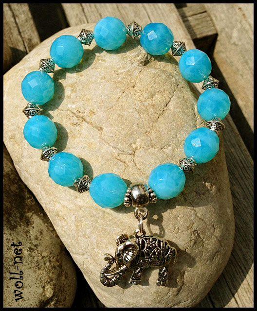 "Armband,flexibel,Glas, Tibet, Elefant,blau, ""Aqua"", by ""Woll-Net"" DaWanda"