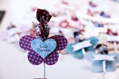 Butterfly lollipop treat using die cut hearts