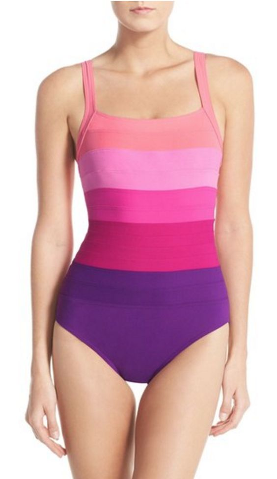 Slimming Colorblock Maillot Swimsuit
