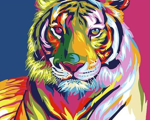 Tiger Wall Art Prints Colourful Animal Poster Art Abstract Wildlife Home Decor