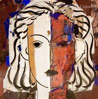Rostro blanco y rojo by Manolo Valdés