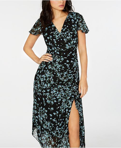 Inc International Concepts I N C Flutter Sleeve Ruched Maxi Dress