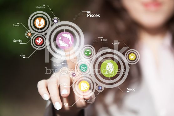 Zodiac signs on touch screen. royalty-free stock photo