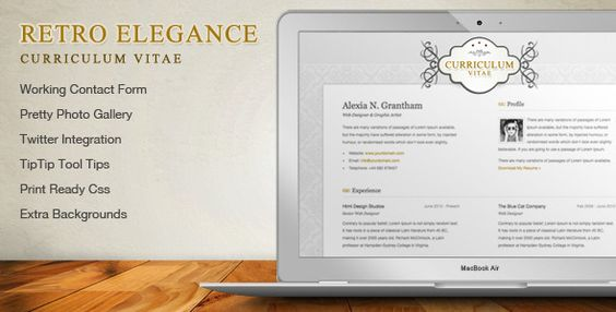 Retro Elegance - CV \/ Resume Html Template  Retro Elegance online - resume html template
