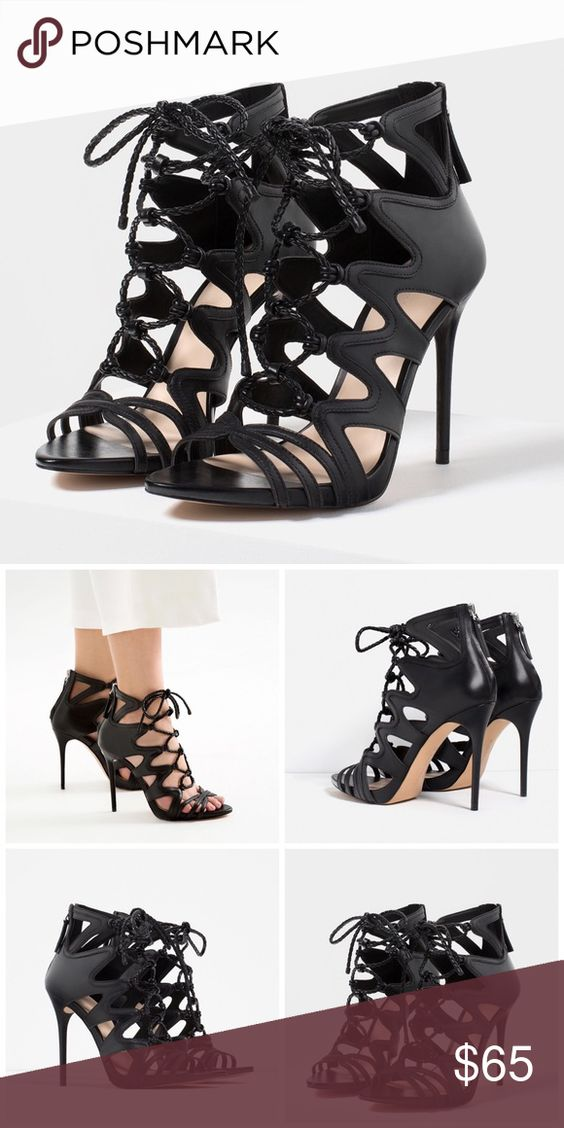 Zara Genuine Leather Lace Up Heels So on trend and very sexy on the feet! Euro 40 Zara Shoes Heels