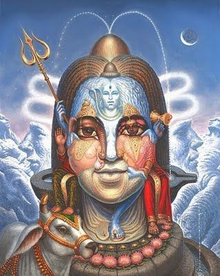 The main iconographical attributes of #Shiva are the third eye on his forehead, a snake around his neck, the crescent moon adorning, the holy river Ganga flowing from his matted hair, the trishula as his weapon and the damaru as his instrument.