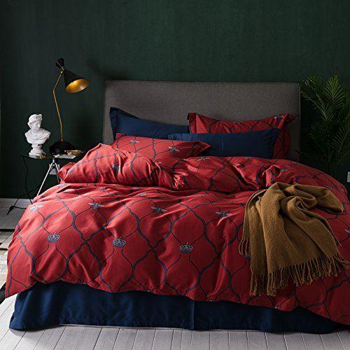 Maroon Grey Cotton Bed Linen Set Reversible Duvet Cover Pillow Cases Bed Linen Sets Bed Linen Design Affordable Bedding Sets