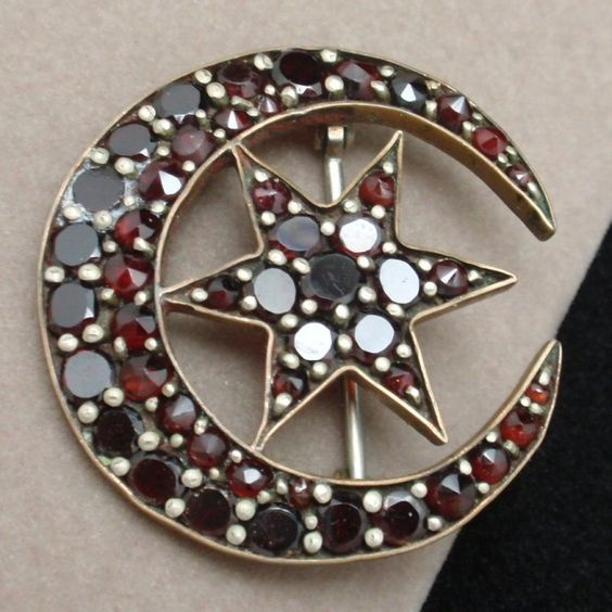 Antique Star & Crescent Pin Victorian Bohemian Garnets