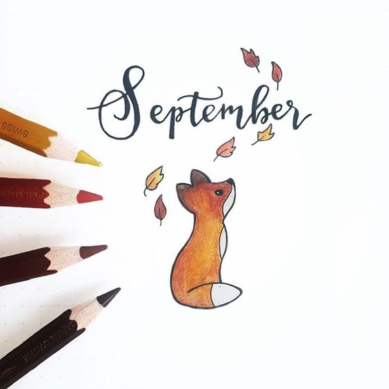 September theme. bujobeyond Finally did my September cover page Recreated the little fox from a photo I found on Pinterest The original art work is by @audreymillerart Busted out my old Caran Dache water colour pencils for this one. They are still just as beautiful as when I got them as a birthday present more than 20 years ago
