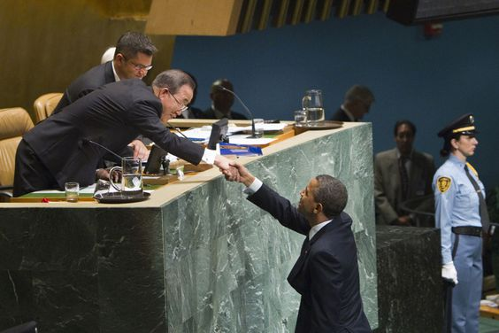 Barack Obama, President of the United States shakes hands with Ban Ki-moon, Secretary General of the United Nations- United Nations Blog   Updates from the social media team   Page 2
