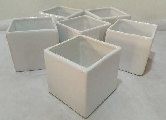 *1074* lote de 3 vasos quadrados.