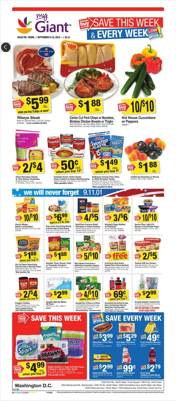 Giant Food Weekly Ad September 9 - 15, 2016 - http://www.olcatalog.com/grocery/giant-food-weekly-ad.html