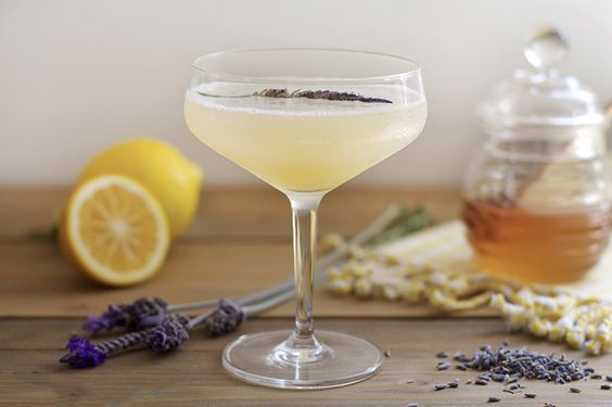 Lavender Bee's Knees: gin, lavender-honey syrup, lemon juice | Honestly Yum