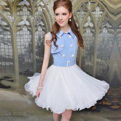 Juxtaposition blue double-breasted waist sleeveless dress