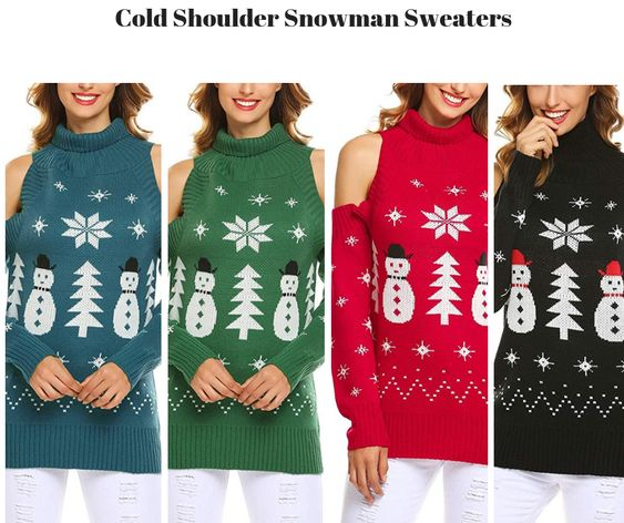 Cold Shoulder Snowman Sweaters