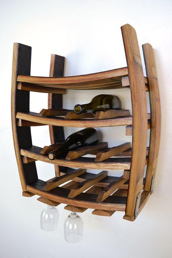 Estante loire colgante vino barril botellero con los for Estantes para vinos