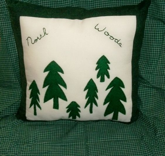 Flannel Pillow Lodge Cabin Northwoods Trees $18.00 at www.needles-n-pinsstitcheries.com