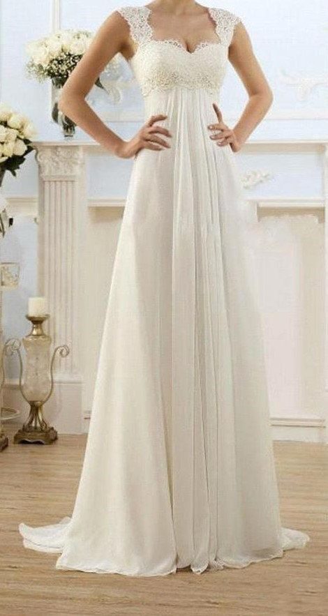 Modest Wedding Gowns Capped Sleeves Empire Waist by DressKimbelina: