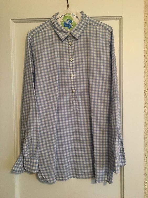 Loft Windowpane Tunic Softened Shirt Sz L Hyacinth Blue | eBay